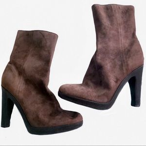 🆕Lux CALVIN KLEIN Brown Suede Ankle Boots 7N NWOT